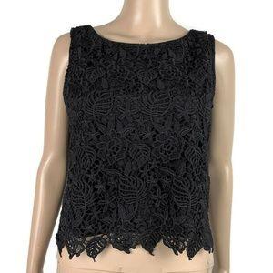 Banana Republic Crop Blouse Black Crochet Lace